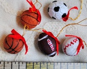 Set of 5 Miniature Sports Balls Christmas Tree Ornaments