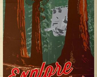 Retro Star Wars Explore Endor Vintage AT-ST A4 A3 A2 Poster Print