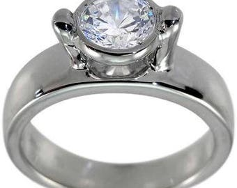 Solitaire Engagement Ring In 14K White Gold With 3/4 Carat Bezel Set Diamond Ring Design