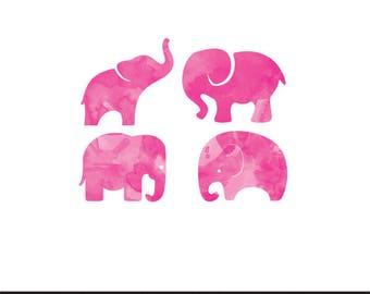 elephants pink watercolor clip art png svg dxf file file silhouette cricut baby shower kids animals clip art