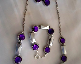 Silver and Purple  bead with chain and magnetic clasp Matching  Earrings and Bracelet