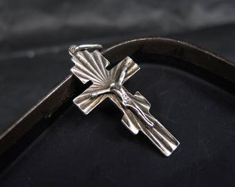 Vintage Sterling Silver Cross Jesus Christ Crucifix Bless and save