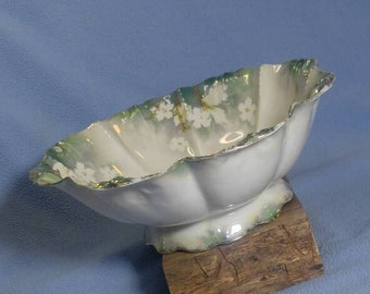 """Antique RS Prussia 10"""" Footed Bowl~ White Flowers, Green"""