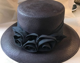 Ladies Dressy Hat Dark Brown Woven Fiber Black Silky Hatband and Bows Womens Fedora Chapeau Kentucky Derby Topper by Lord & Taylor