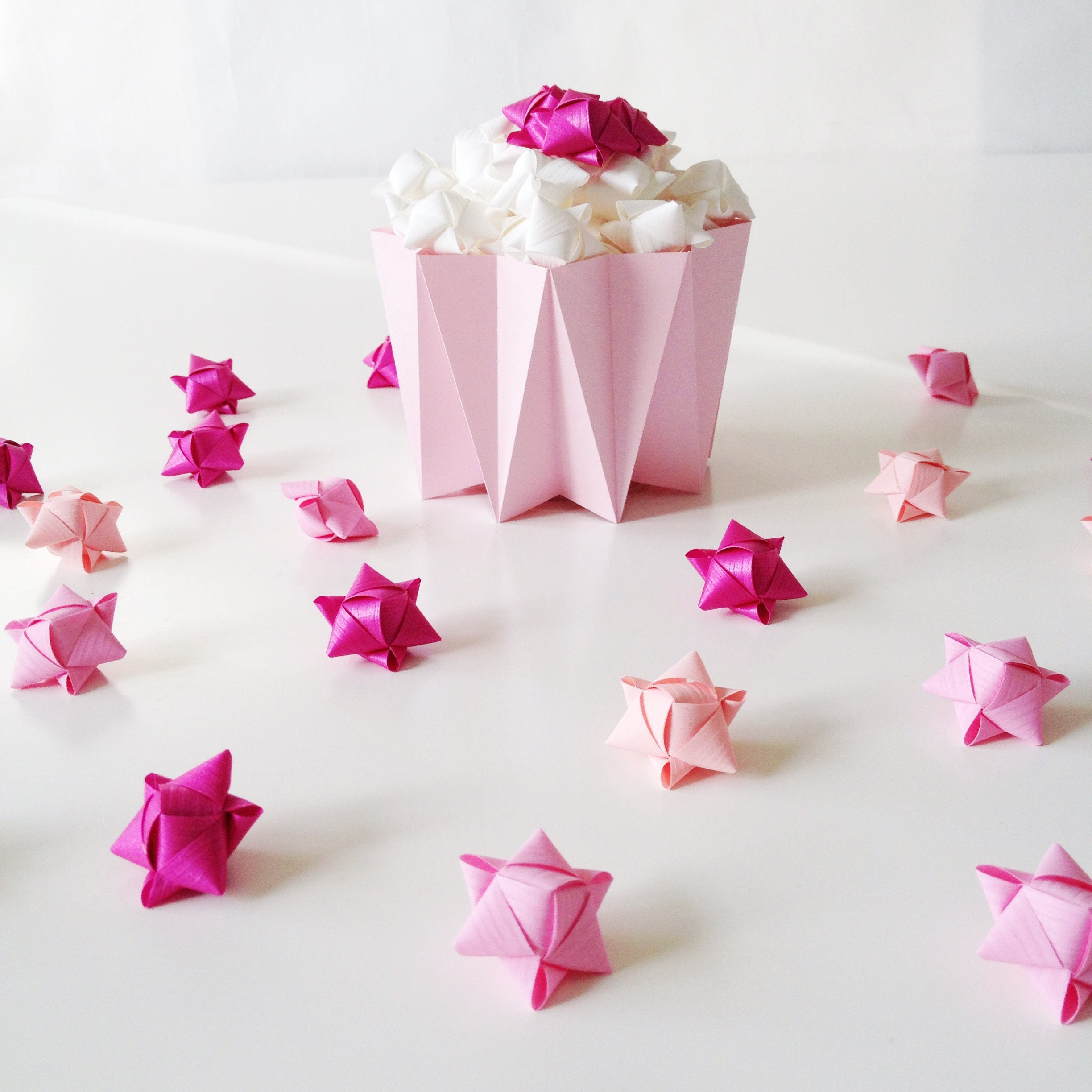 Mini Cube stars for table and gift decoration 15 pcs - Coral, Pastel ...