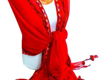 Red fringed Scarf, Shawl, Red Fringed Shawl, Lightweight Scarf, Womens fashion accessories, Gifts For Christmas, For Mothers Day, for her