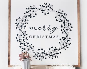 "Large Merry Christmas Sign. 24x24"" Wood Merry Christmas Sign"