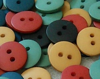Buttons, 14mm, 25 or 50 buttons, plastic, black, navy, seal, corail, moutard, BA10