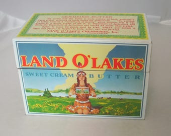 Vintage Land O' Lakes Metal Recipe Tin