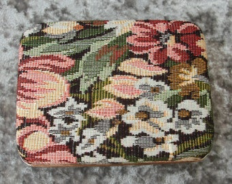 Small Vintage Floral Fabric Jewelry Box