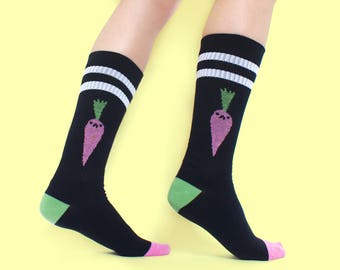 Bad Carrot Tube Socks! Black Sport Socks! Limited Edition