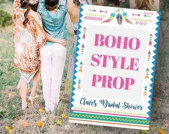 Bridal Shower Prop - Boho Style - Wedding Photo Prop - Bohemian - Customized for any events  - Instagram Frame Prop