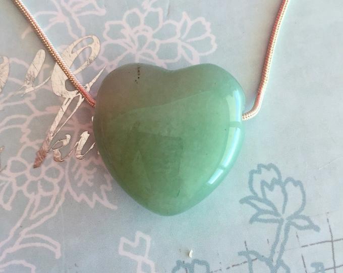 HEART Pendant Necklace w/ Reiki - Green Aventurine Heart Healing Jewelry