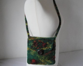 green shoulder bag, artisan wool purse, felted knit bag, felt purse, cross body bag, wool purse, shoulder bag, green felt purse, casual bag