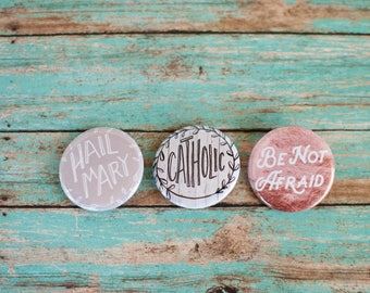 Catholic Pinback Button Set, Hail Mary, St JPII, Catholic Gifts Under 10, Catholic Stocking Stuffers, 502011