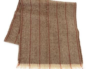 Herringbone scarf, vintage, brown, white, red, unlabeled, 52 inches long