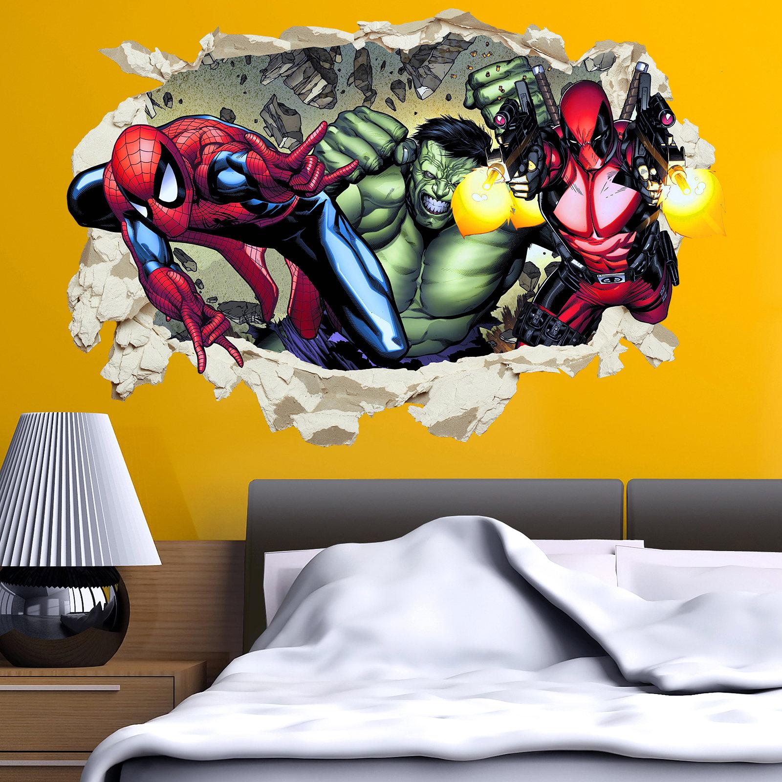 Spider-Man Deadpool Hulk Wall Stickers Decal Crack Home Decor Kids ...