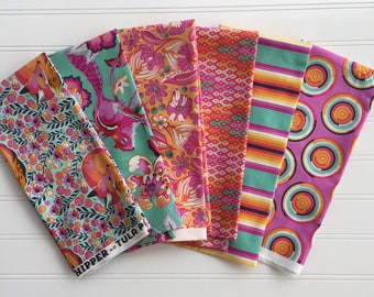 """Tula Pink Fat Quarter bundle of 6 from the  """"Chipper"""" Collection"""