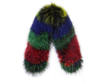 Real Fox colorful Fur Collar,Scarfs fur,Wrap fur,Scarves fur,Woman Collar,Fur Collar,Leather Jacket Collar,real fur collar F542