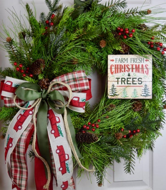 Farm Fresh Christmas Tree Cypress Pine Wreath with Frosted Berries and Pine Cones; Red Green Winter Holiday Wreath; Christmas Door Decor