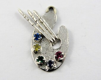 Enameled Painter's Pallet and Brushes Sterling Silver Charm or Pendant.