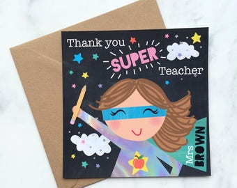 Thank you Super Teacher, Thank you Teacher Card, Super Hero Teacher, Teacher Card, Thank you Card, Leaving School Card, Best Teacher