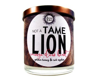 Not a Tame Lion - Bookish Candle - LemonCakes Candle Co 9oz Wood or Double Wick Soy Candle - Golden Honey, Red Apples