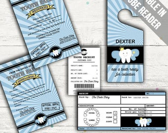 Tooth Fairy Certificate, Receipt, Letter and Door Hanger (Blue). Editable. Printable. Instant Download.