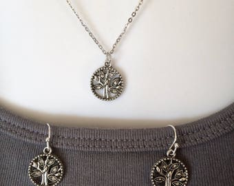Tree of life Rhinestone antique silver necklace with matching earrings
