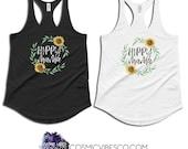 Hippy Mama Sunflower Racerback Tank Top - Mom Tank - Hippie Shirt - Women's Shirt - Multiple Sizes Black & White - Gift for Her
