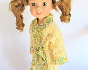 Chenille bathrobe for 14.5 inch dolls like Wellie Wishers doll clothes color yellow