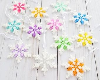 Snowflake - Set Of 12 - 8 Bit - Ornaments - Tree Decor - Snowflake Ornament - Perler Beads - Holiday Decor - Snowflake Decor
