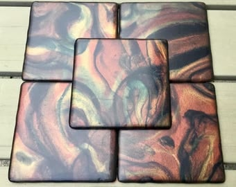 "Resin coaster set "" Glimmer "" 5er Set"