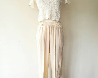 Vintage cream 100% silk pants elastic waist