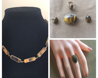 Vintage collection of Tiger Eye Jewelry, Necklace, Brooch, Ring and Earrings