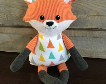Stuffed Fox; fox stuffed animal; Happy Fox Doll; stuffed animal, fox toy: fox plush