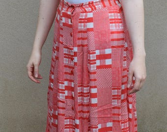 Vintage red and white gingham skirt, 1980s