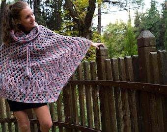 Crochet Poncho, Wool Poncho, Multicolor Poncho, Handmade Poncho, Woman Poncho, Poncho with fringes