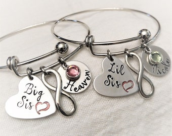 Personalized Big Sis & Lil Sis Bracelets, Sisters Bracelets,Sister Bangles,Set of Bangles,Gift for Sister,Sister Gift, Hand Stamped Jewelry