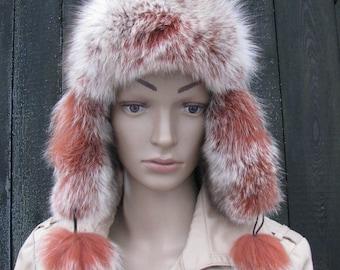 Cap fur HAT USHANKA leather natural fox fur dyed  winter covering head pilot hat helmet pom pom hat