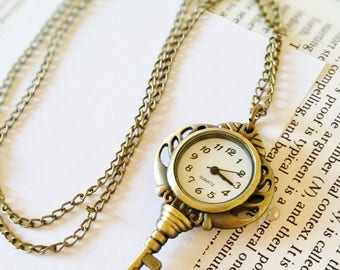 Bronze Key Watch Necklace - key necklace, key jewelry, watch necklace, bronze watch, vintage watch, bronze key necklace, necklace watches