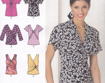 FREE US SHIP Simplicity 2181 Ruche Shirred Twisted Tops Bodice Blouse Sewing Pattern Uncut Size 6/14 6 8 10 12 14 Bust 30 31 32 34 36