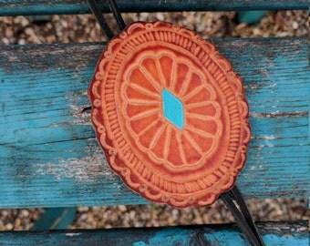 Hand Tooled Leather Concha Bolo Necklace, Western, Southwestern, Boho Leather Jewelry