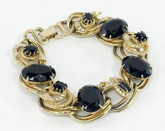 50s Black Glass Juliana Link Bracelet |