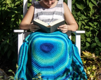 Crochet Lap Blanket/ Kids Reading Blanket- Blue Bugaboo