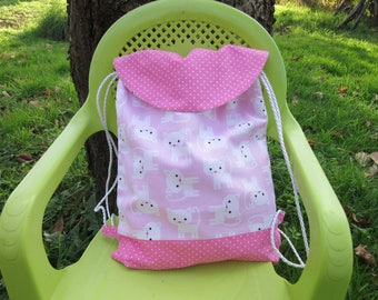 bag child backpack, shoulder, cats, pink and white nursery
