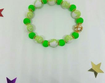 Elastic bracelet neon green beads