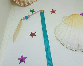 Bookmark Ribbon, beads and feather