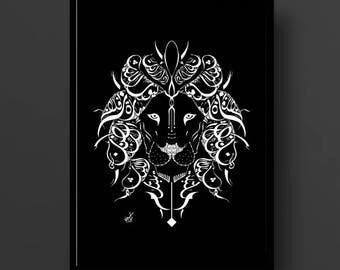 Arabic Calligraphy Lion Print - Al Mutanabbi Poetry - Arabic Poetry - Black and White Calligraphy Art Print