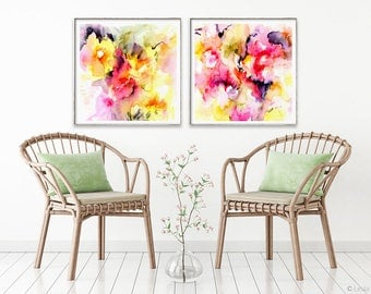 So Much to Say, print set of 2, watercolor painting set, abstract colorful art set, yellow modern art print, pink modern abstract set